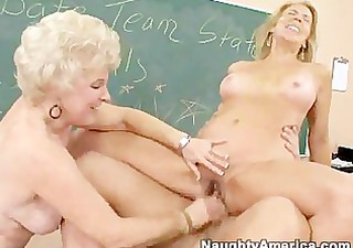 two aged concupiscent ladies receive fucked