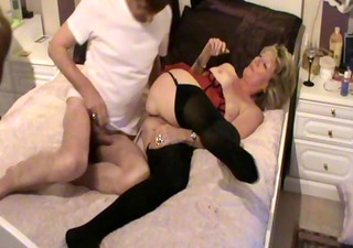 messy wife in red with nylons fucking with dark