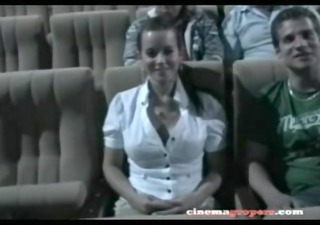 this hot youthful wife is at the cinema with her